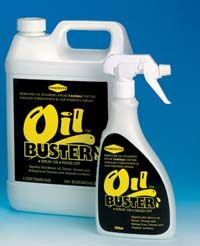 Oilbuster for block paving and concrete, 500ml. Removes oil from block paving and concrete. Fast acting Oilbuster breaks up the oil into soluble globules that can be readily washed away.