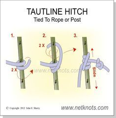 Tautline Hitch to Rope - Tie a Tautline to rope for an adjustable line