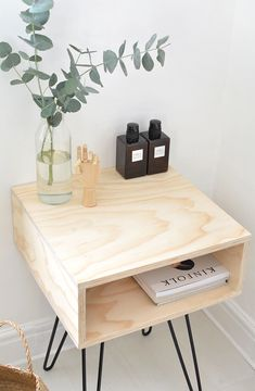 Chic DIY Mid-Century Modern Nightstand / DIY nightstand with hairpin legs Decor, Modern Nightstand, Interior, Diy Furniture, Home Furniture, Modern Bedside Table, Mid Century Modern Nightstand, Home Decor, House Interior