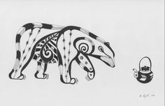 Polar Bear & Tea Ink Drawing