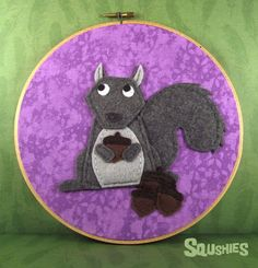Felt Wall Art Hoop – Squirrel and Acorns from squshies