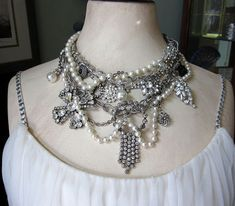 Vintage Statement Assemblage Necklace Rhinestones by jryendesigns. Very fun!