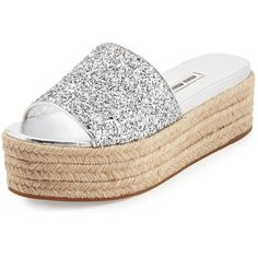 Miu Miu Glitter Platform Espadrille Slide Sandal (€450) ❤ liked on Polyvore featuring shoes, sandals, argento, leather espadrilles, miu miu shoes, open toe sandals, platform espadrilles en platform shoes