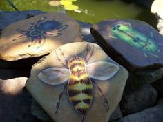 Painted Garden Rocks | ... cute painted garden rocks from The Stone Pansy #bee #garden #rock