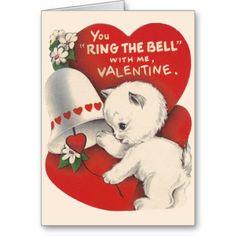 Vintage Cat Valentine Bell Valentine's Day Card