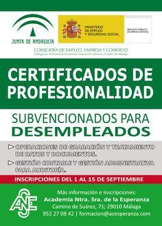 #Cursos #Gratis para #Desempleados con #Practicas Laborales ➡ Abierto Plazo de Inscripciones Subvencionados por Junta de Andalucía. #malaga
