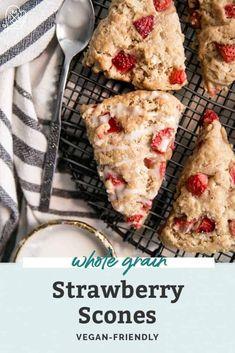 The BEST Whole Grain Strawberry Scones • Fit Mitten Kitchen Gluten Free Baking, Vegan Baking, Healthy Baking, Baking Scones, Baking Flour, Strawberry Scones, Strawberry Recipes, Vegan Dessert Recipes, Brunch Recipes