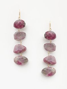 LONG RUBY IN THE ROUGH DROP EARRINGS