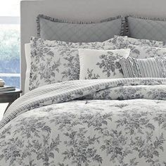 Turn on the charm with this elegant yet casual Laura Ashley Annalise comforter set. In gray. Toile Bedding, Grey Comforter, Twin Comforter Sets, Brown Bed Linen, Neutral Bed Linen, Modern Luxury Bedroom, Luxurious Bedrooms, Modern Bedding, Luxury Bedding Collections