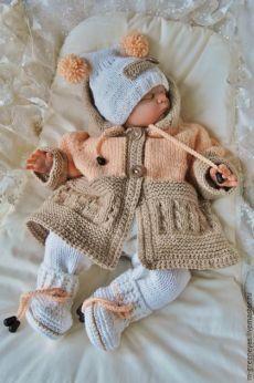 """Купить Комплект для новорожденного """"Нежный креатив"""" - бежевый, пальто для девочки, Пальто ручной работы"""
