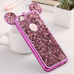 Fashion 3D Mickey Mouse Case For Iphone 6 6S 7 Plus 5S Rhinestone Glitter Silicone Case Coque For Iphone 6S Plus Luxury Cover