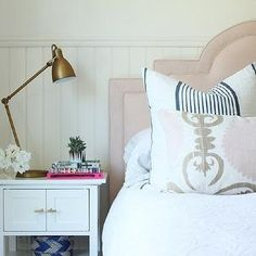 Pale Pink Headboard, Contemporary, bedroom, Owens and Davis