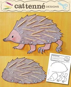 Roly-poly Echidna craft pattern Source by Animal Activities, Animal Crafts, Possum Magic, Hedgehog Craft, Nocturnal Animals, Australian Animals, Preschool Crafts, Kids Crafts, Forest Animals