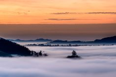 Sunset over the fog by Moreno Ronchi