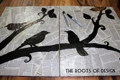 The Roots of Design: DIY Newspaper Art : this would be a cool sketchbook cover...