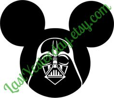 Darth Vader Mickey Head DIGITAL DOWNLOAD svg jpg png - by LastYesterday on Etsy