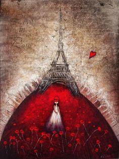 """♥♥ღPatrícia Sallum-Brasil-BH♥♥ღ """"Love in Paris"""" by Amanda Cass Paris Kunst, Paris Art, Tour Eiffel, I Love Paris, Heart Art, Whimsical Art, Art World, Heart Balloons, Amazing Art"""