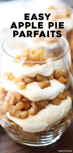 These Apple Pie Parfaits have layers of caramelized apples and homemade whipped cream. An easy and delicious treat for the Fall season or all year round! Healthy Apple Desserts, Apple Recipes, Fall Recipes, Gourmet Recipes, Healthy Recipes, Parfait Desserts, Fun Desserts, Delicious Desserts, Yummy Food