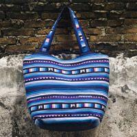 Ethnic collection.Cotton shoulder bag - Blue Glacier - EZISTOCK