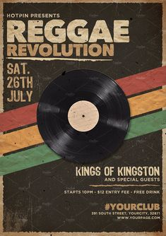 Reggae Party Flyer Template by Hotpin on Creative Market Film Poster Design, Graphic Design Posters, Band Posters, Cool Posters, Poster Wall, Poster Prints, Retro Wallpaper, Aesthetic Collage, Photo Wall Collage