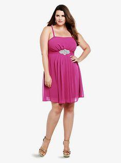 fae2d480cdf Rhinestone Embellished Chiffon Dress