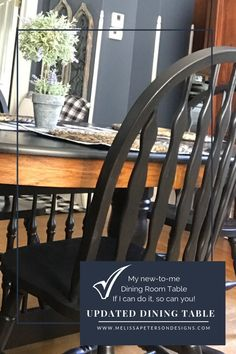 My new-to-me Farmhouse Table - Farmhouse Dining Room Table, Farmhouse Bench, Dining Table, Centerpieces, Table Decorations, Black Table, Leaf Table, Farmhouse Style Decorating, Joanna Gaines