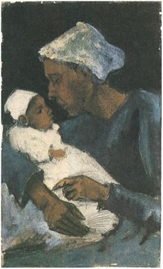 Vincent van Gogh: Woman (Sien?) with Baby on her Lap Watercolor   Pencil, watercolour, heightened with white oils
