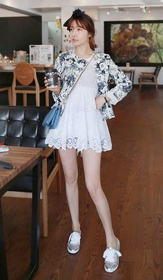 Get this look: http://lb.nu/look/6074877  More looks by Miamiyu K: http://lb.nu/miamiyu  Items in this look:  Miamasvin Round Neck Floral Jacket, Miamasvin Scalloped Lace Blouse, Miamasvin Lizard Embossed Clutch, Miamasvin Spiked Low Cut Sneakers   #spring #summer #florals #paleflorals #lacedress #blues #studs #sneakers #chic