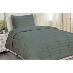 Levinsohn Textile Damask Stripe Comforter Set Grey 3 Piece Queen >>> Click for Special Deals
