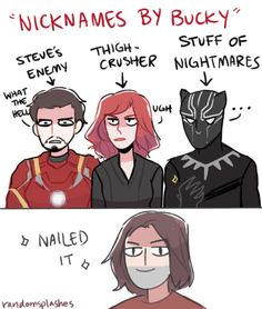 "art by randomsplashes ""if bucky had to give nicknames for some people on team ironman"""