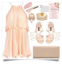 """""""Pleated Halter Dress"""" by mrs-rc ❤ liked on Polyvore featuring Prada, GUESS, Carolee, Jane Iredale and halterdresses"""