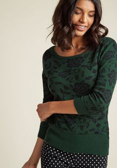 Collectif Intarsia Charm Floral Sweater
