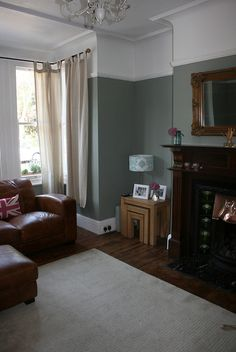 Farrow and Ball Living Room Idea Best Of Lounge Farrow & Ball Pigeon In 2019 Farrow And Ball Living Room, Living Room Green, Living Room Paint, New Living Room, Home And Living, Living Room Ideas With Brown Sofa, Dark Wooden Floor Living Room, Brown Leather Sofa Living Room, Small Living