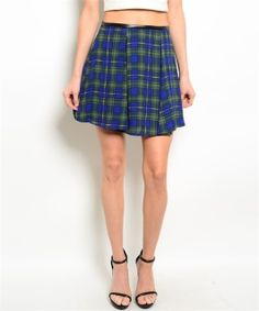School girl chic skirt features a skater style silhouette, traditional plaid print and leatherette trim on waist. Fabric Content: 100% POLYESTER.