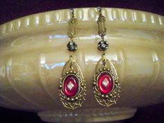 Edwardian/ Downton Abbey Style Vintage Glass Drops And Rhinestone Balls Dangle Earrings