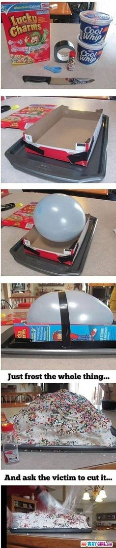 Make a Cake with a Baloon Inside of It - 20 Best April Fool's Day Pranks to Fool Friends and Family | GleamItUp: