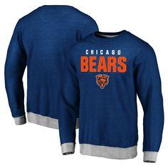 Chicago Bears Pro Line Team Essentials Elevation Clean Color Crew Pullover Tri-Blend Sweatshirt - Navy - $43.99