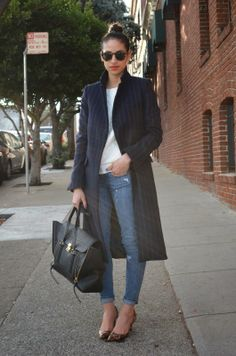 .Warm, long outerwear with cute casual jeans and mini heals:) love!