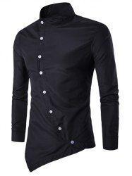 Button Up Stand Collar Asymmetric Shirt - BLACK M