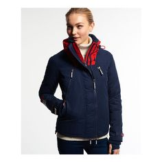 Superdry Snow Rider Jacket (€175) ❤ liked on Polyvore featuring outerwear, jackets, navy, fleece lined hooded jacket, navy jacket, water resistant jacket, embroidered jacket and biker jacket
