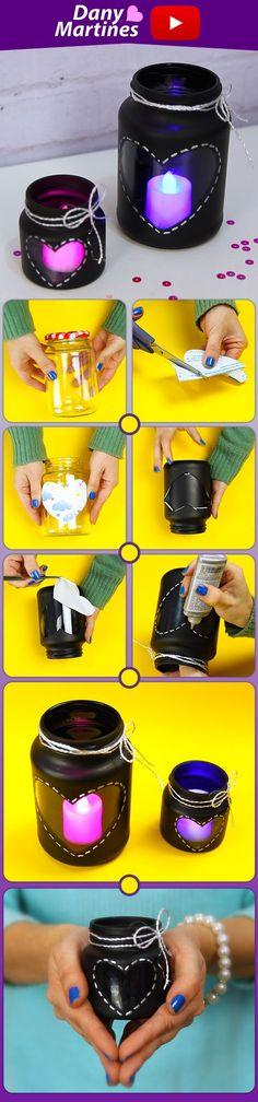 Faça você mesmo pote decorativo com velas, DIY tumblr, Do it Yourself