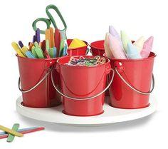 Retro Kitchen Craft Turntable Set - Retro Kitchen Mini Bucket and Craft Turntable Set Craft includes turntable and 5 mini tin buckets. Red Crafts, Craft Stick Crafts, Arts And Crafts, Craft Ideas, Decor Ideas, Art For Kids, Crafts For Kids, Howard Storage, Craft Storage