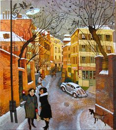 Winter by Otar Imerlishvili Paintings I Love, Colorful Paintings, Winter Illustration, Illustration Art, Art Loft, Georgie, Art Web, Web Gallery, London Art