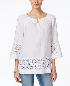 Charter Club Linen Crochet-Trim Peasant Top, Only at Macy's Ladies Day Dresses, Night Dress For Women, Casual Tops For Women, Blouses For Women, Blouse Styles, Blouse Designs, Dress Design Patterns, Blouse And Skirt, Beautiful Blouses