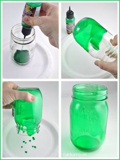 Shamrock Mason Jars (using Green transparent glass stain, DecoArt brand)
