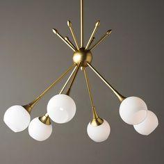 MidCentury Modern Mobile Chandelier 6 lt Golden Brass or Brushed Nickel rods and opal glass globes