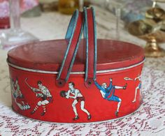 Vintage tin litho sports theme lunch pail by NX211 on Etsy