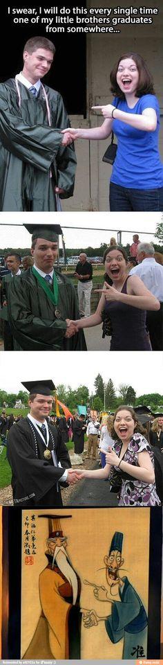I did this at my graduation! Lol mulan grad photo is always fun :)