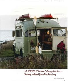 1959 Chevrolet Viking short bus featured as the cover story of the Maine Home + Design