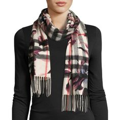 Burberry Cashmere Check & Floral Fringe Scarf featuring polyvore, women's fashion, accessories, scarves, accessories scarves, light gray, burberry, cashmere shawl, wrap shawl, floral scarves and cashmere wrap shawl